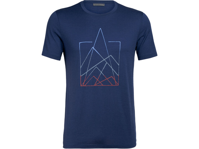 Icebreaker Tech Lite 7 Pinnacles Crew Top T-shirt Heren, estate blue